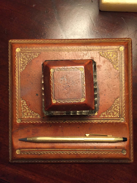 Antique Leather Desk Pad and Ink Well