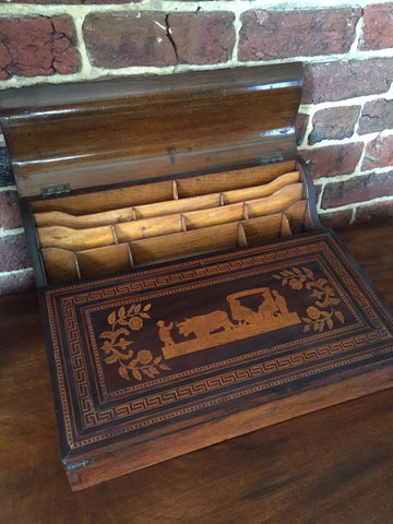 Antique Mahogany Lap Desk with Detailed Inlay
