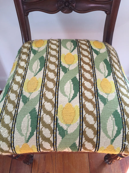 Pair of Antique Occasional Chairs with Needlepoint Seats