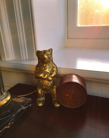 Vintage Cast Brass Bear Bank
