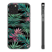 Clear Phone Case - Floral Pink Hibiscus Palm Leaves