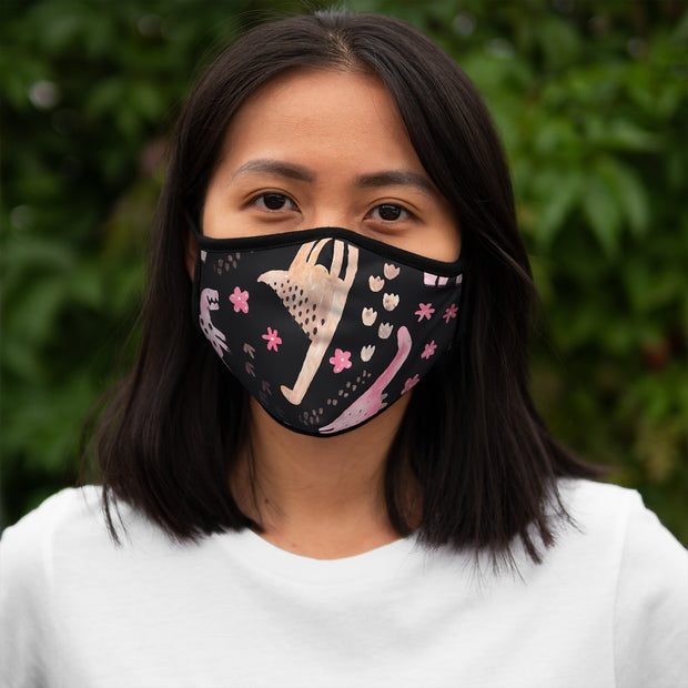 Fitted Polyester Face Mask - Dinosaurs, Trees and Flowers