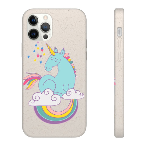 Biodegradable Phone Case - Magical Unicorn on a Rainbow Design