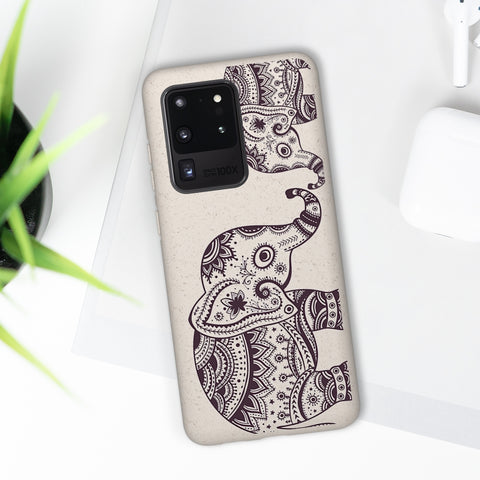 Biodegradable Phone Case - Black Henna Elephants