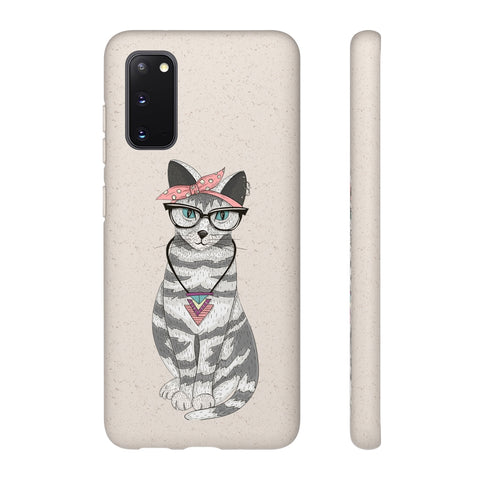Biodegradable Phone Case - Hippie Hipster Cat