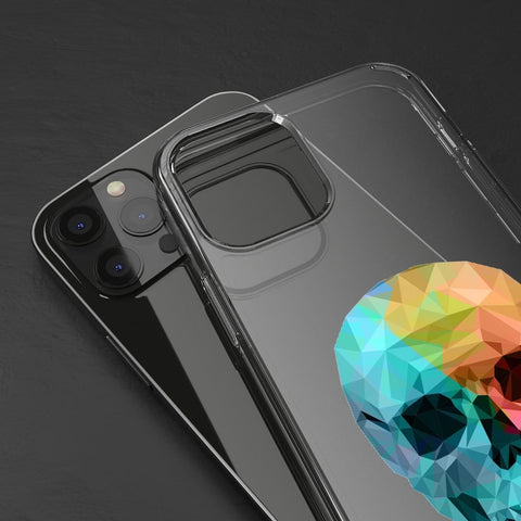 Clear Phone Case - Geometric Skull Pattern