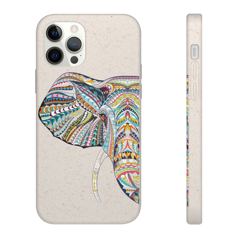 Biodegradable Phone Case - Colorful Abstract Geometric Elephant