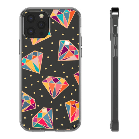 Clear Phone Case - Colorful Diamonds with Dots