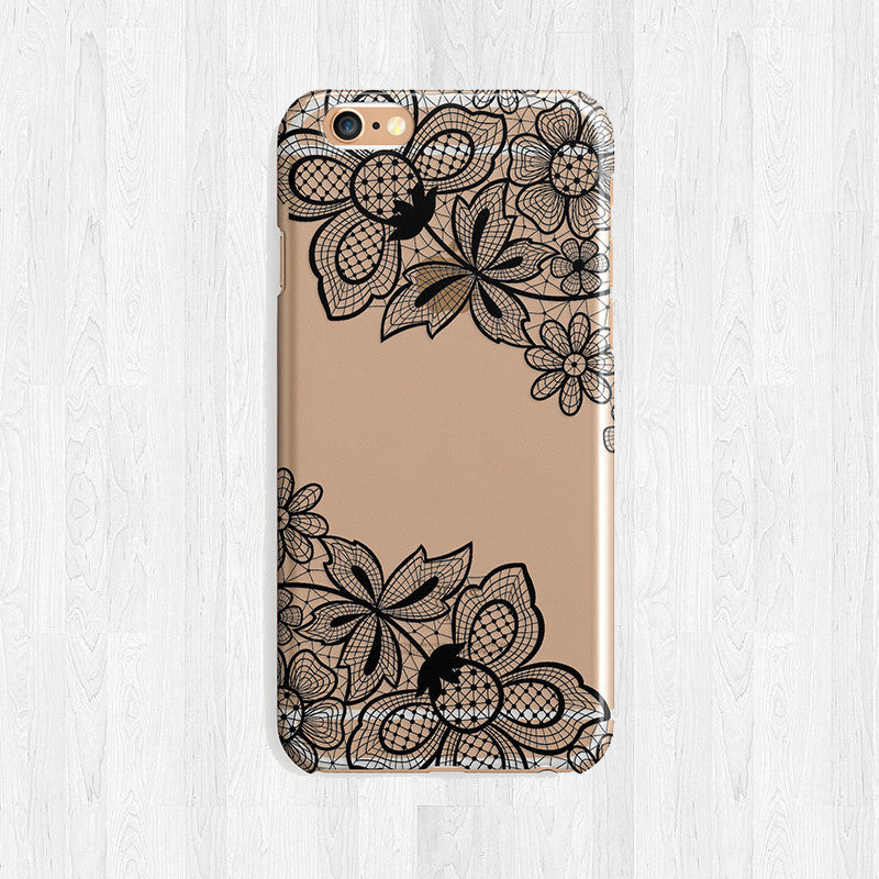 Black Or White Lace Design Clear Tpu Case Cover For Iphone And