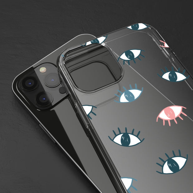 Clear Phone Case - Seeing Eyes Pattern