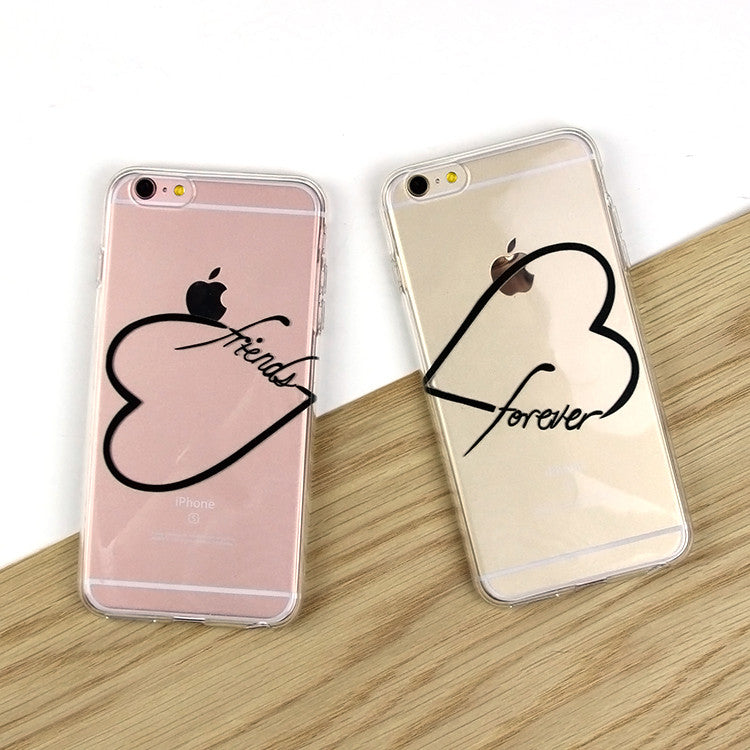 Set of 2 black or white friends forever hearts clear tpu case cover for iphone