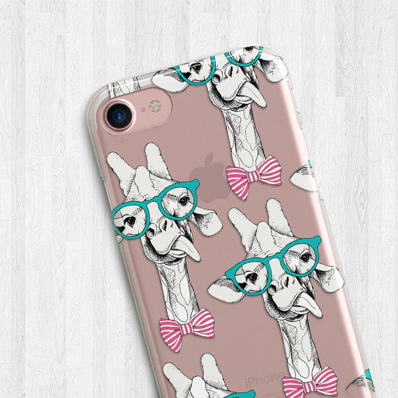 Finest Giraffe Pattern Hippie Animal Clear TPU Case Cover for iPhone and  ZH43