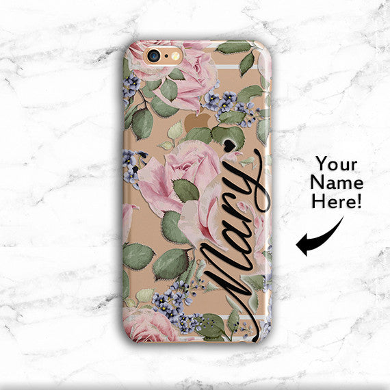 personalized floral name iphone and samsung galaxy case