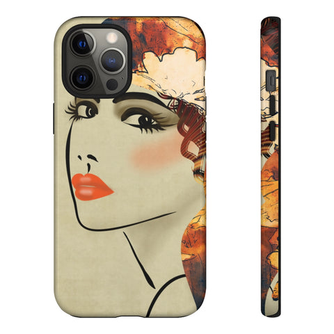 Tough Phone Case - Art Deco Sketching of Beautiful Girl Face