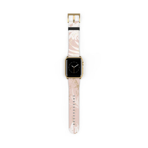Pastel Gold Rose Pink Color with Hand Drawn Tropical Leaves - Watch Band