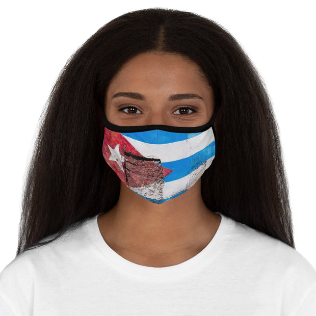 Fitted Polyester Face Mask - Cuban Flag Painted on the Crumbling Walls of Old Havana