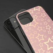 Clear Phone Case - Starry Pattern on Rose Gold