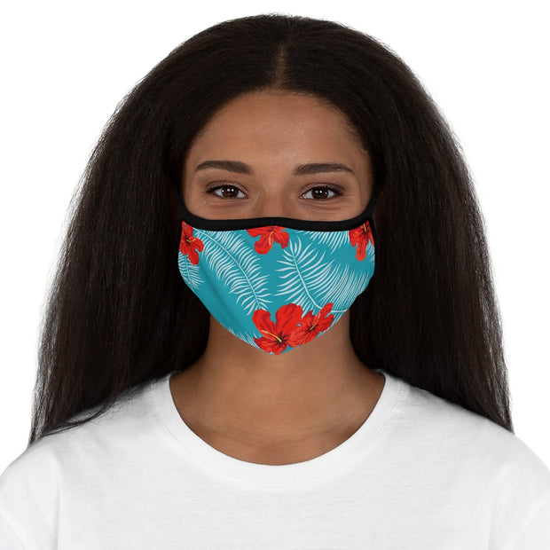 Fitted Polyester Face Mask - Tropical Exotic Hibiscus Flower with Palms Leaves
