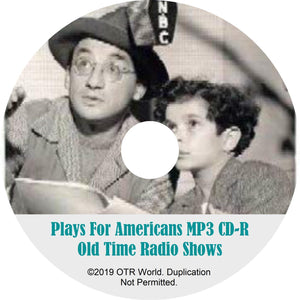Plays For Americans OTR Old Time Radio Shows MP3 On CD 3 Episodes