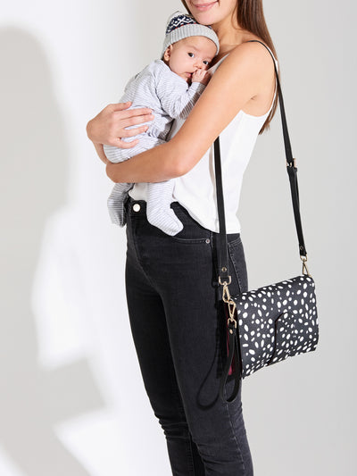 The Chic Baby Clutch - Black & White Leather Baby Nappy Bag - She Lion