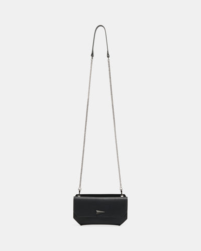 The Fixer - Cross-Body Black Leather Bag - Front View -  She Lion