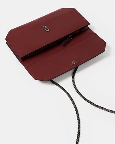The Fixer - Cross-Body Burgundy Leather Bag - Opened View - She Lion