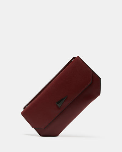 The Fixer - Cross-Body Burgundy Leather Bag - Edge View - She Lion