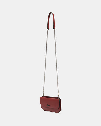 The Fixer - Cross-Body Burgundy Leather Bag - Side View with Long Strap - She Lion