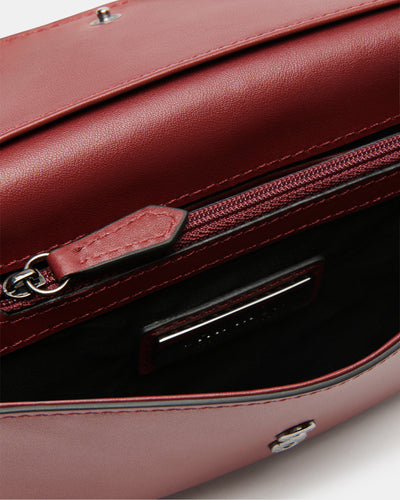 The Fixer - Cross-Body Burgundy Leather Bag - Internal Zip - She Lion
