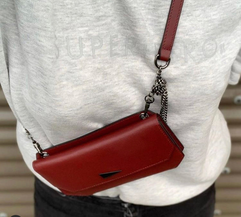 The Fixer - Cross-Body Burgundy Leather Bag - Long Strap - She Lion