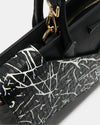 The Maven - Premium Italian Leather Laptop Tote Bag - Italian Black and White Leather - She Lion