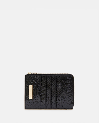 The Wingwoman - Black Leather Card Holder & Zip Purse - She Lion