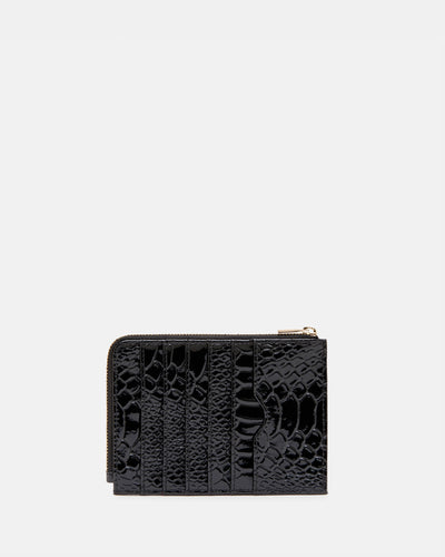 The Wingwoman - Black Leather Card Holder & Zip Purse - Back View - She Lion