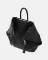 The Negotiator - Black Leather Convertible Backpack - Top View with Tassel - She Lion