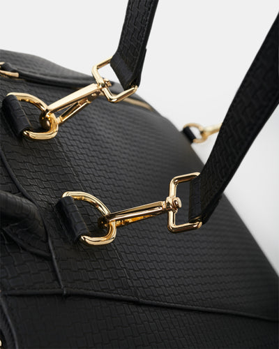 The Negotiator - Black Leather Convertible Backpack - Light Gold Hardware - She Lion