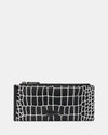 The Ace - Black & White Leather Zip Wallet - Black and White Croc - She Lion