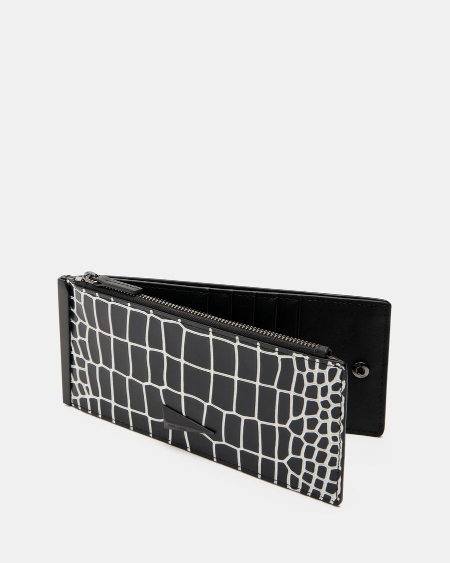 The Ace - Black & White Leather Zip Wallet - She Lion