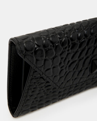 The Insider - Black Leather Multiple Card Holder Wallet - Black Croc Leather - She Lion