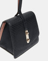 The Connector - Black Leather Clutch Bag - Left Side View - She Lion