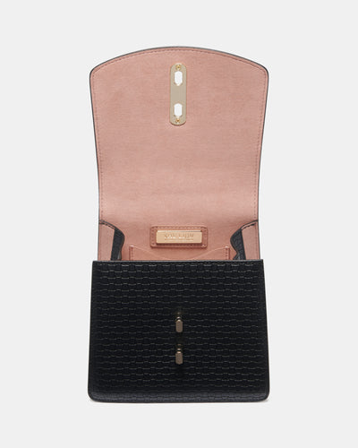 The Connector - Black Leather Clutch Bag - Flap Open View - She Lion