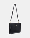 The Tycoon - Black Leather Laptop Bag and Sleeve - Front View with Long Strap - She Lion