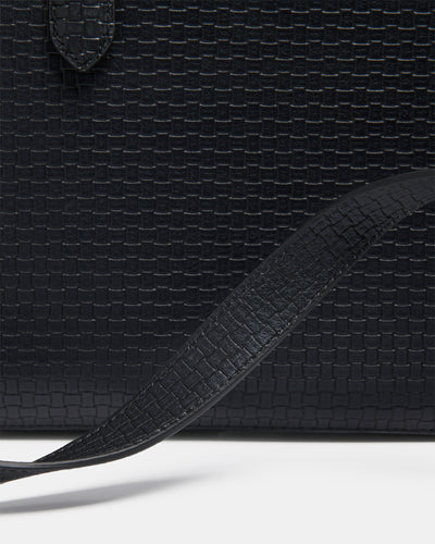 The Tycoon - Black Leather Laptop Bag and Sleeve - Black Weave Leather - She Lion