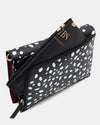 The Chic Baby Clutch - Black & White Leather Baby Nappy Bag - Back Pocket - She Lion
