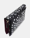 The Chic Baby Clutch - Black & White Leather Baby Nappy Bag - Top Left View - She Lion