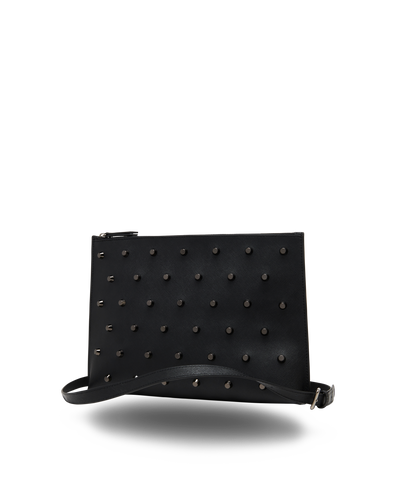 The Innovator - Black Leather Cross-Body Clutch - Front View - She Lion