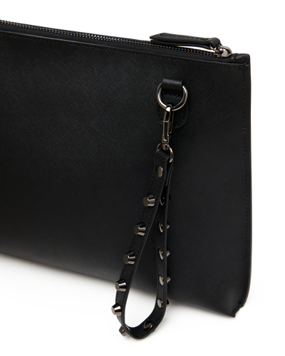 The Innovator - Black Leather Cross-Body Clutch - Back View with Wristlet - She Lion