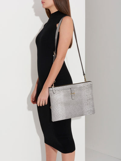 The Tycoon - Snake Embossed Leather Laptop Bag and Sleeve - Model Using Bag in Side View - She Lion