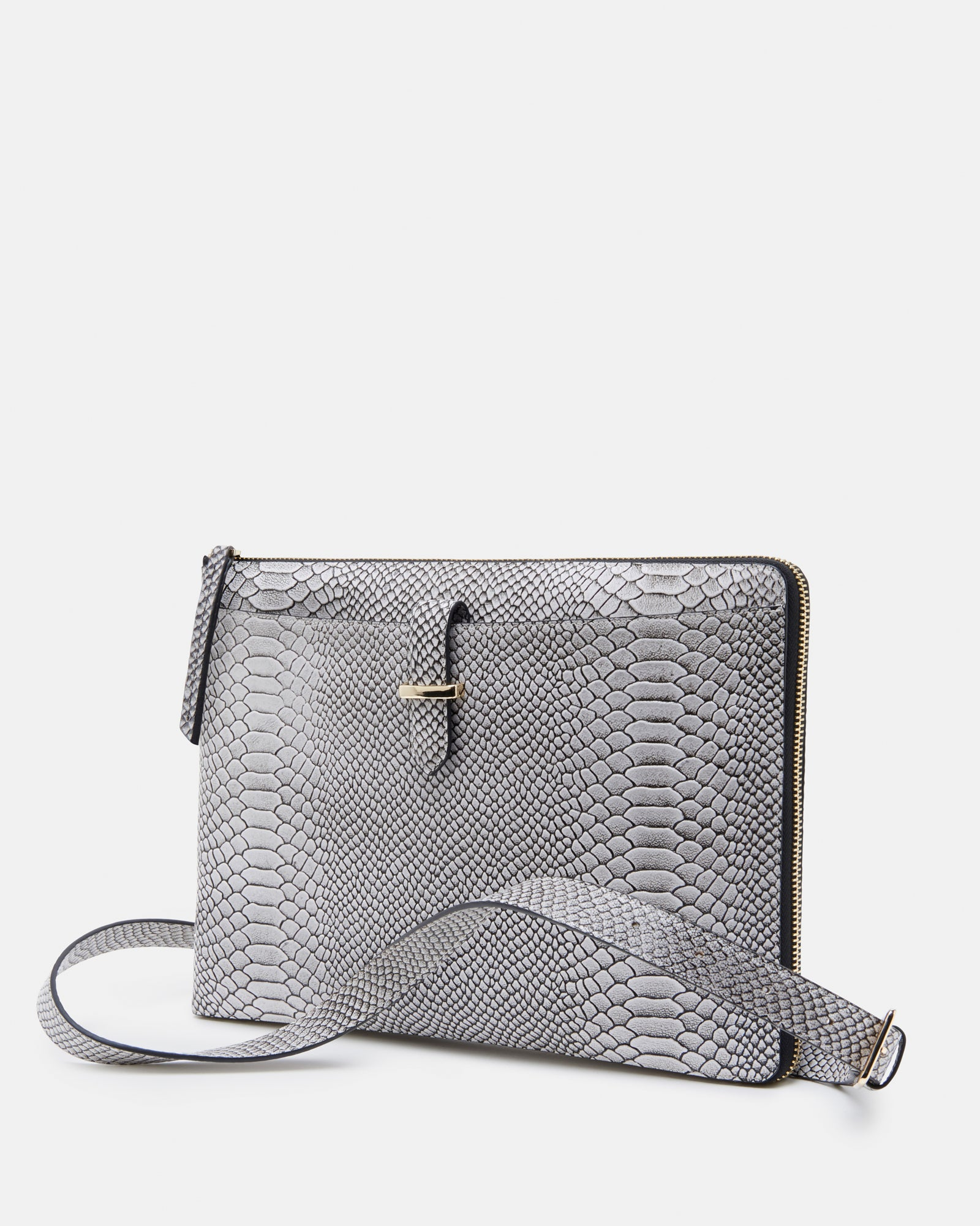 The Tycoon Black And White Leather Laptop Sleeve