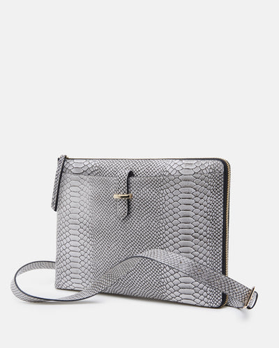 The Tycoon - Snake Embossed Leather Laptop Bag and Sleeve - Front View with Long Strap - She Lion