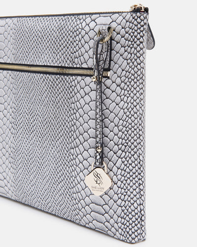The Tycoon - Snake Embossed Leather Laptop Bag and Sleeve - Back View with ZipShe Lion